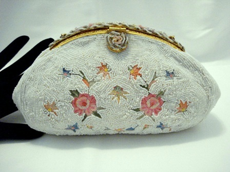 Beaded evening purse made in France Tambour embroidery