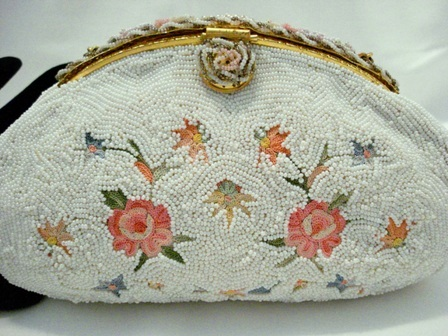 Small vintage French beaded and rose embroidered purse