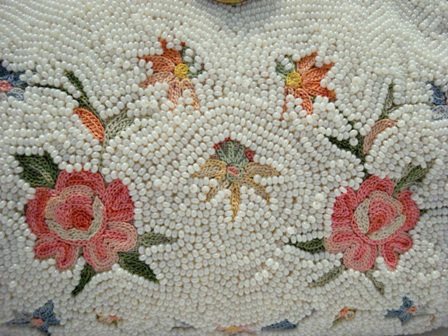 Tambour embroidered beaded purse Point de Beauvais stitch