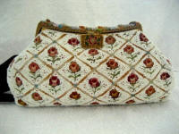 Vintage 1930 1940 French beaded embroidered purse enameled frame