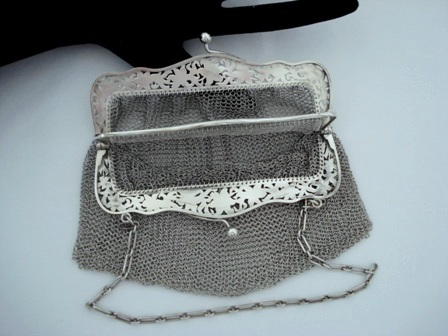 sterling silver dual sided mesh purse