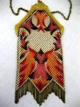 Mandalian enameled mesh purse with parrot design