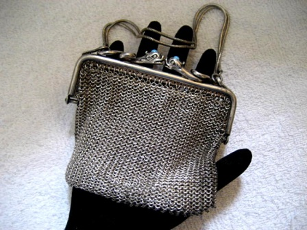 Antique mesh purse with coiled serpent frame jeweled heads vintage early 1900