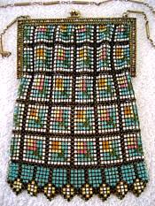 Whiting Davis enamel mesh Art Deco 1920 purse handbag