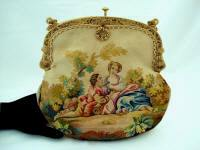 French Aubusson tapestry figural purse ca. 1900