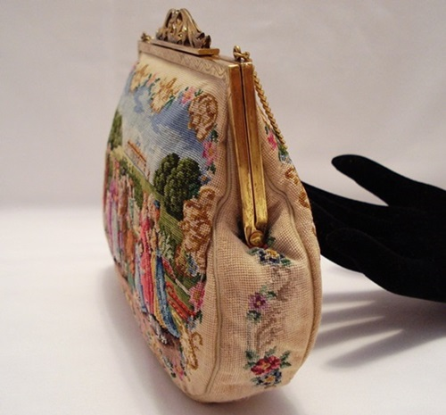 Intricate petit point embroidery purse handbag Austrian