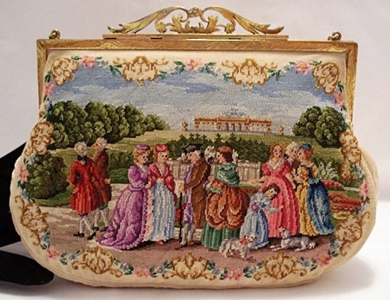 Austrian petit point purse two scenes