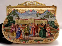 Austrian petit point scenic figural handbag purse