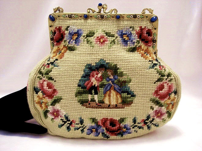 Vintage 1920's needlepoint purse with petit point