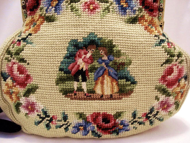 Antique needlepoint purse jeweled enameled frame