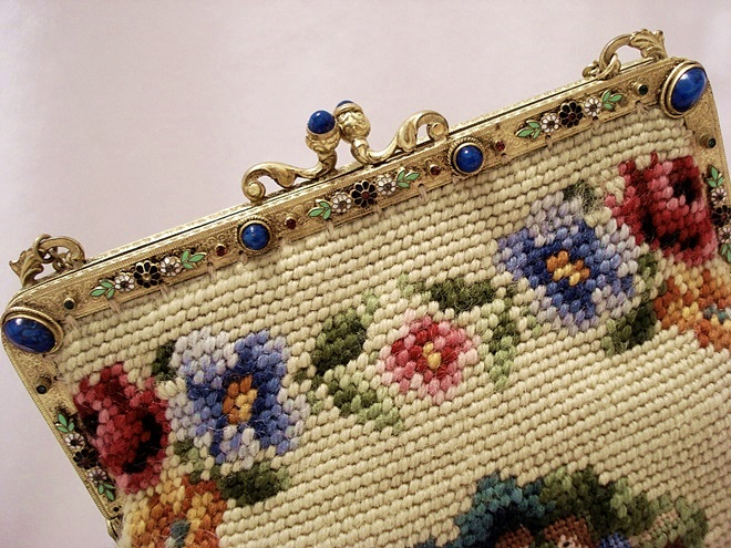 Made in France needlepoint purse jeweled enameled frame