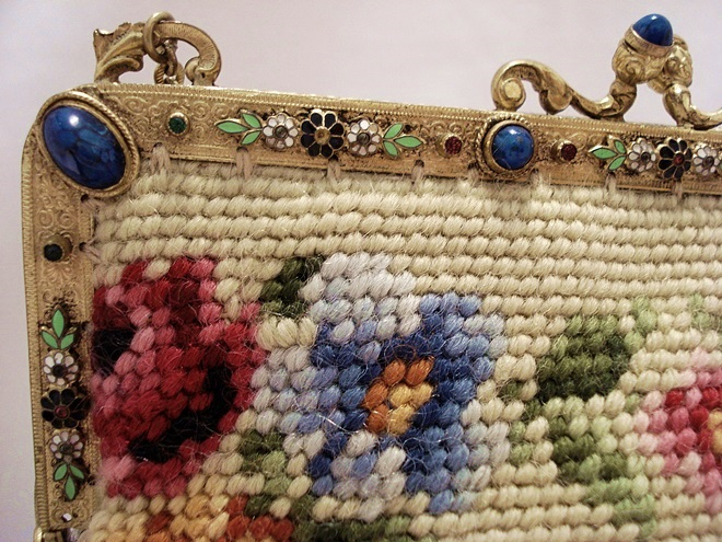 French jeweled enameled frame needlepoint purse 1920's