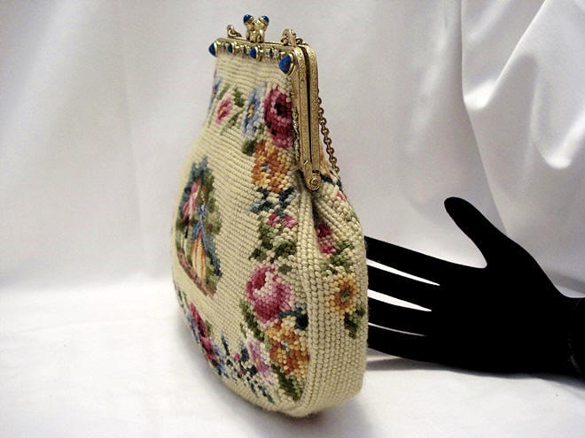 Vintage 1920's Needlepoint figural purse roses
