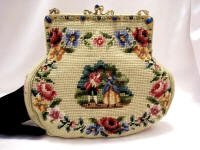 Vintage needlepoint purse with figural petit point