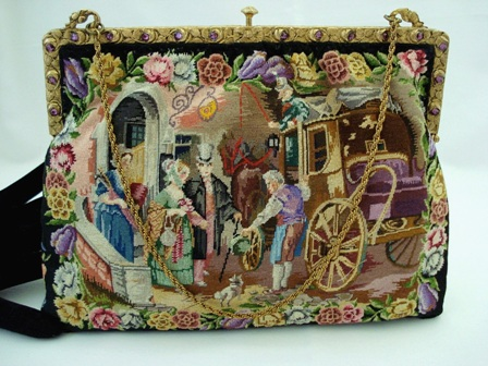 Rare figural scenic petit point purse French jeweled frame