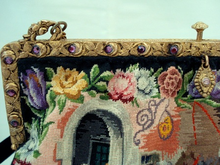 Petit point purse French jeweled hallmarked frame