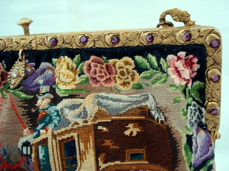 Figural scenic petit point bag jeweled frame