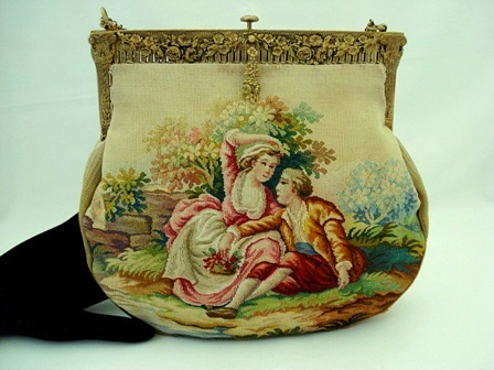 Aubusson tapestry antique French evening handbag