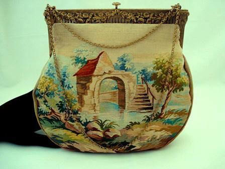 Aubusson tapestry purse 1900 French handbag