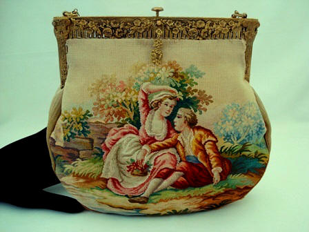 Antique Aubusson tapestry French hand woven purse