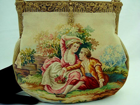 Aubusson French tapestry hand woven purse ca. 1900