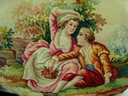 French Aubusson figural scenic tapestry purse