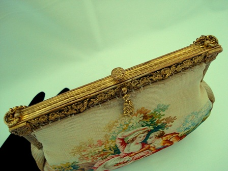 French Aubusson tapestry 1900 purse figural scenic