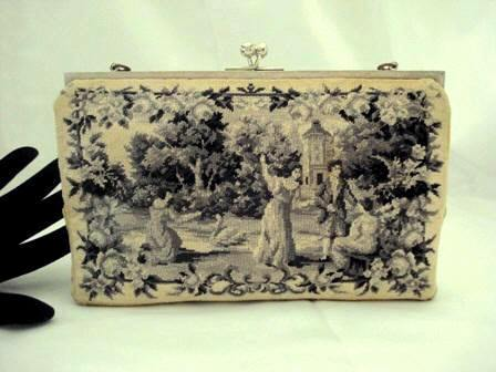 Vintage 1940 monochrome petit point figural scenic purse