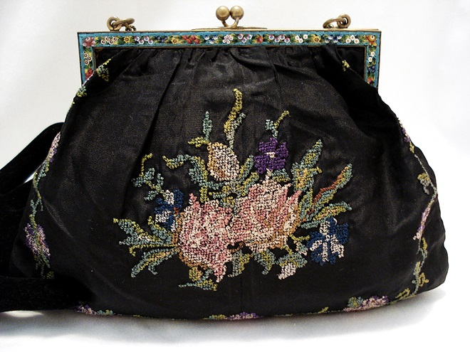 Antique silk embroidered purse Italian mosaic frame