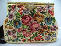 Large vintage petit point purse sterling lavender roses and French beaded frame