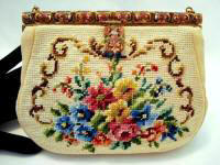Vintage needlepoint purse 1960 Maud Hundley