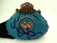 Victorian watered silk embroidered purse filigree frame
