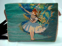 Vintage hand embroidered evening clutch purse with Degas ballerinas