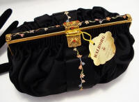 Walborg embroidered black satin silk evening clutch purse