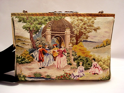 Walborg vintage 1950 embroidered scenic purse