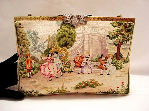 Walborg vintage figural scenic embroidered purse