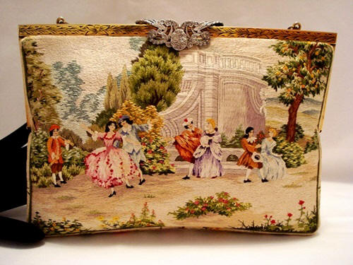 Vintage 1950 Walborg fully embroidered figural scenic purse