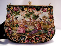 Vintage Walborg petit point figural scenic purse
