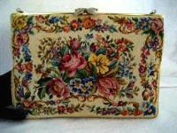 Vintage 1940 Walborg petit point evening purse with lush roses and flowers marcasite leaf clasp