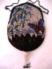 Antique butterfly beaded purse ca early 1900's
