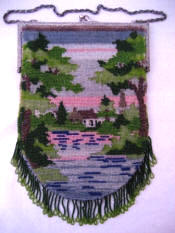 Antique cottage scenic beaded purse ca early 1900