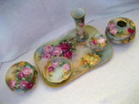 Hand painted all roses dresser set 1920 Limoges Austrian 6 vanity pieces