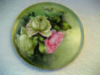 Limoges early 1900 large round dresser vanity tray with large bold roses