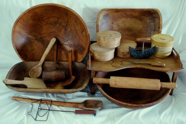 Antique dough bowls and primitive woodenware