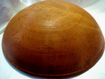 Antique hand turned dough bowl 21 inches 1800's Ohio