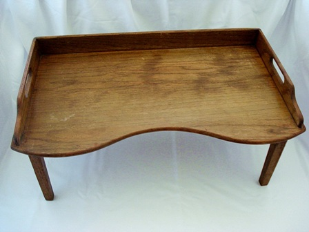 Antique oak footed breafast bed lap tray early 1900's