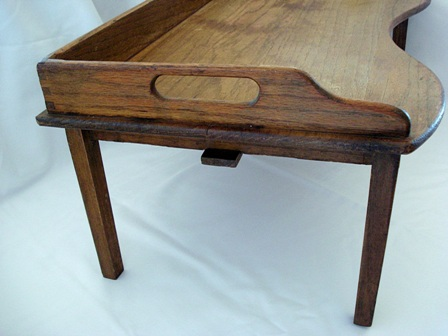 Antique oak breakfast bed tray with open handled gallery