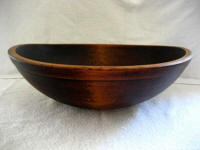 Late 1800's large round dough bowl rimmed and footed